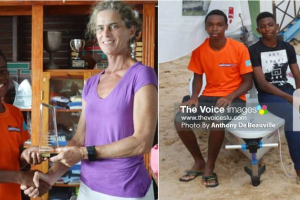 Image: (L-R) Optimist Class 12-year-old Alejandro Vargas finished first overall and received the Ted Bull Benjamin Optimist Champion Trophy from Meet Director Lily Bergasse; Saint Lucia's two representatives for the World Youth Championship in Belgium, Adonai Modeste and Guillaume Chevrier. (PHOTO: Anthony De Beauville)