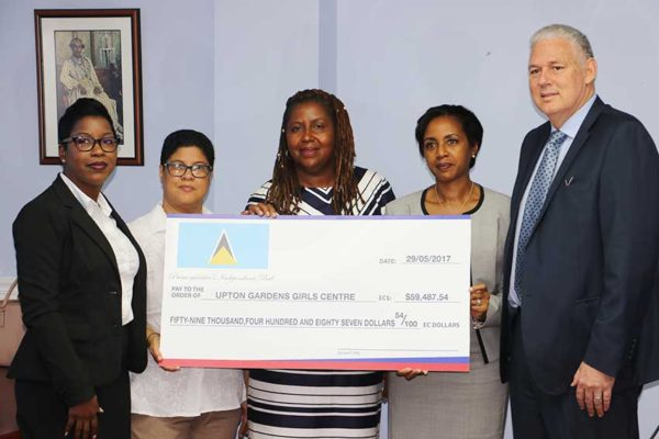 Image: Upton Gardens Girls Centre Board Members with Prime Minister Chastanet.