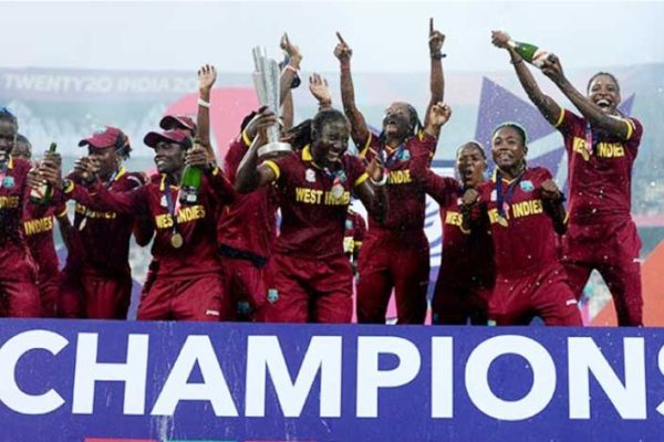 Image: West Indies women celebrate the T20 victory after beating Australia in the final at Eden Gardens. (PHOTO: Gareth Copley/Getty Images)