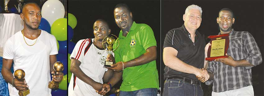 Image: (L-R) Chad Flavius, Most Goals/Best Midfield Player (Green Monsters), Darwin Bideau receiving the MVP award from Kendall Emmanuel; District Representative for Micoud South Allen Chastanet receiving an award from Chairman of DFL Innocent St. Ange. (PHOTO: Anthony De Beauville)