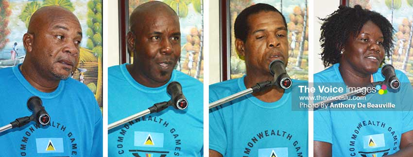 Image: (l-r) Coaches Felix St. Rose (football), Terry Verdant (volleyball), Conrad Frederick (boxing) and Denise Herman (athletics) are optimistic about Team Saint Lucia's upcoming performance at the Games. (Photo: Anthony De Beauville)