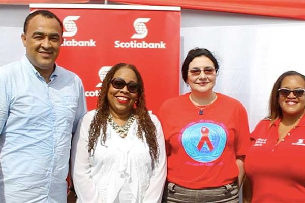 Image: L-R: Jamaica's Health Minister Dr. Christopher Tufton, Executive Director of the Jamaica National Family Planning Board Dr. Denise Chevannes, UNAIDS Country Director to Jamaica ManoelaManova and Hope McMillan Canaan  Scotiabank Jamaica's Public & Corporate Affairs Manager at the Regional Testing Day event in Mandela Park on Friday June