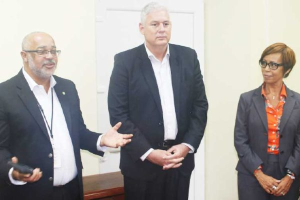 Image: (L to R) OECS Director General Dr. Didacus Jules, Allen M. Chastanet, Prime Minister of Saint Lucia and Gale Jean Baptise, Head of Human Resources address staff at the OECS Commission.