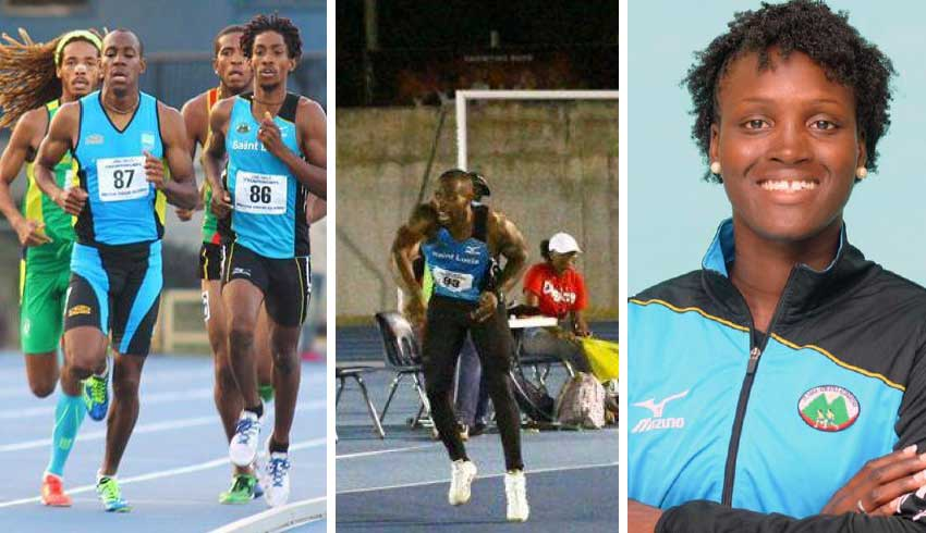 Image: (L-R) Saint Lucia athletes Marbeq Edgar, first from right; Albert Reynolds; and Makeba Alcide. (PHOTO: TF/MA)