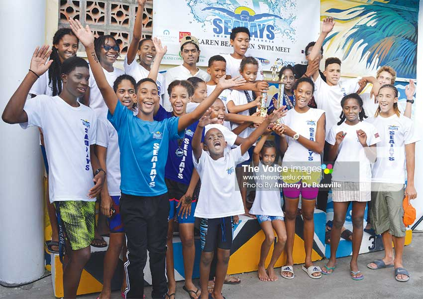 Image: Sea Jays Swim Club celebrates. (Anthony De Beauville)