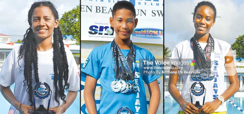 mage: (L-R) Sea Jays top awardees Pavana Dalson, D'Andre Blanchard and Marisa Louisy. (Anthony De Beauville)