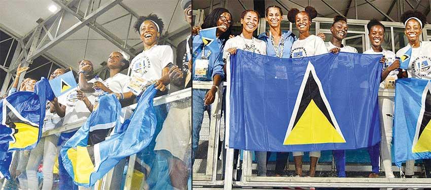 Image: Some of the Saint Lucia team members cheering on. (PHOTO: Team SLU)