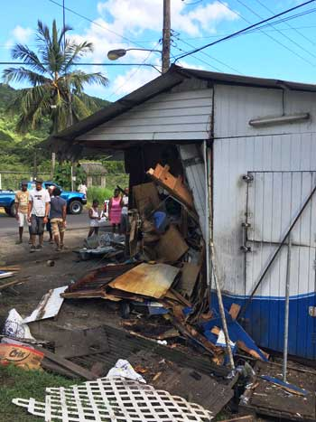 Image of the damage done to the vending hut