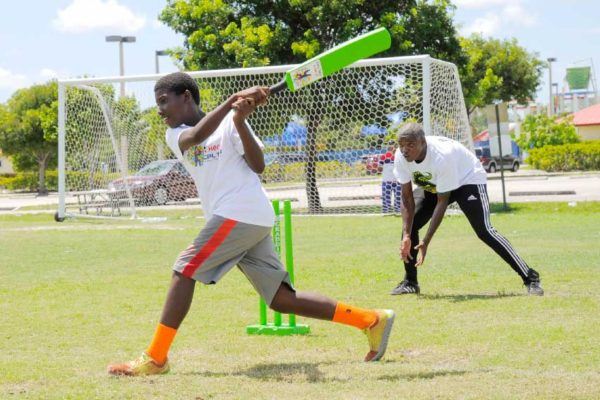 Image: Young cricketer takes part in hero CPL coaching session.