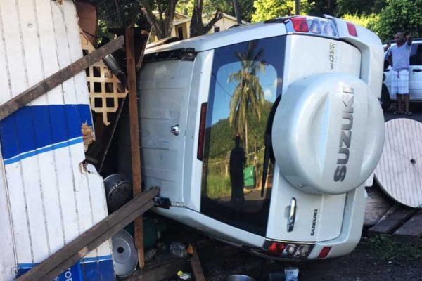 Image: White Suzuki, registration PG1733, veered into a vending hut.