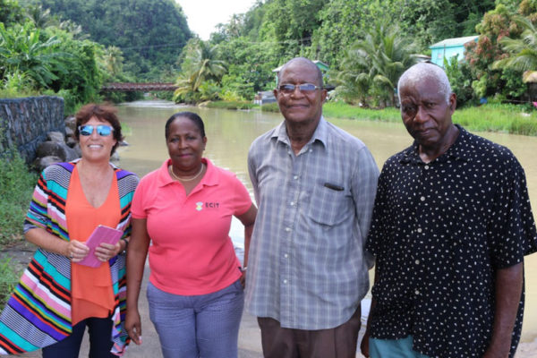IMG; (L-R) New Zealand High Commissioner, Jan Henderson; representative from the OECS Social & Sustainable Development Division, Josette Edward-Charlemagne; Anse la Raye community member, Lawrence Reeves; and Chairman of the Anse la Raye Council, Stephen Griffith.