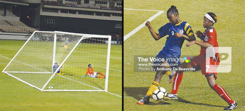 Image: Saint Lucia scores an own goal; Saint Lucia's IllanaLashley (No. 9) and Bermuda's Jaden Masters (No. 7) in a ball tussle early in the second half. (PHOTO: Anthony De Beauville)