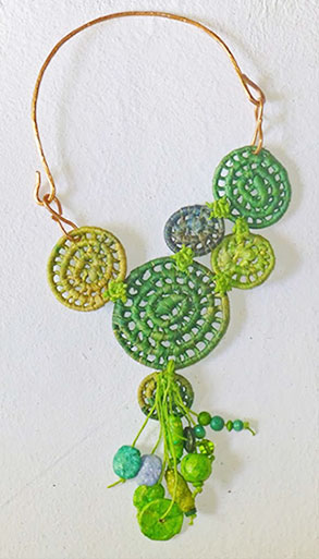 Image of green basket necklace by Finola Jennings-Clark.