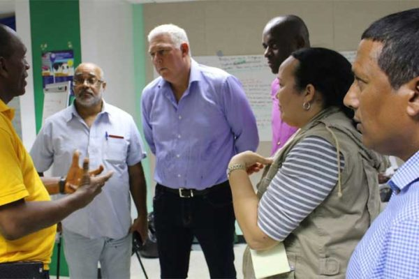 Image: Prime Minister Allen Chastanet and other members of the delegation toured affected countries.