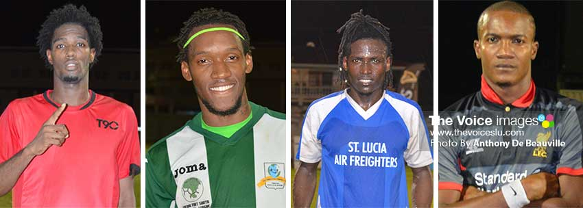 Image: (L-R) The four goal scorers who took their respective teams to the semifinal round: Andrus Joseph (Marchand), Gregson President (VFS), Troy Greenidge (Gros Islet) and Bradley Tisson (Canaries). (Photo: Anthony De Beauville)
