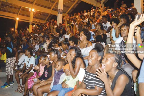 Image: The massive crowd at the Soufriere Mini Stadium on Sunday despite the adverse weather conditions. (PHOTO: Anthony De Beauville)