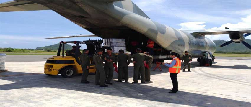 Image: Venezuelan military aircraft loading supplies at the Hewanorra International Airport. PHOTO: Venezuelan Embassy