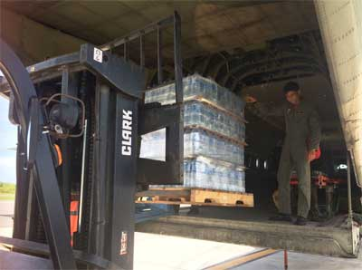 Image of Venezuelan military aircraft loading supplies from Saint Lucia. PHOTO: Venezuelan Embassy
