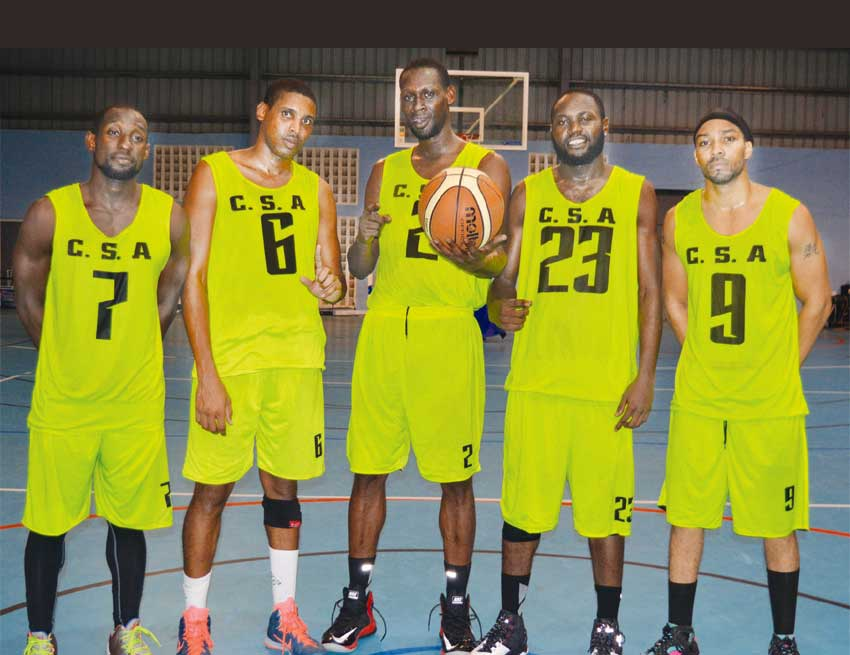 Image: (L-R) CSA starting five against Teachers Union; Lance Prospere, Keegan Preville, Marlon Noel, Ron Du Murville, Arnold Jules. (PHOTO: Anthony De Beauville)