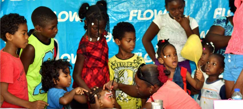 Image: The face painting booth was among the most popular at the Flow back-to-school fair.