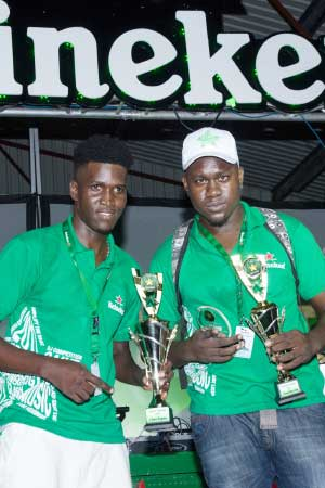 Image: Clash Champion Kerbz Ecstatic (left) with DJ Rufus who placed second.