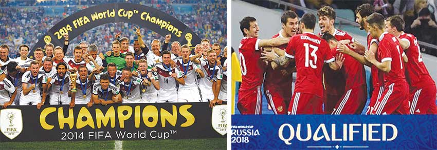 Image: (L-R) Defending champions Germany and host Russia.
