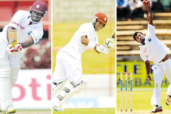 Image: (L-R) Devon Smith, Leon Johnson and Veerasammy Permaul. (PHOTO: WICB/BCCI)