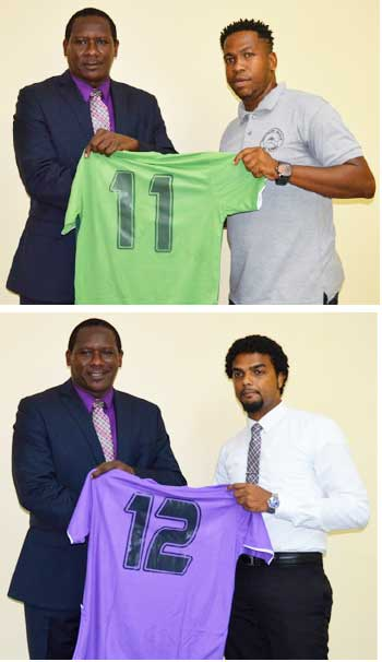 Image: (Top-bottom) Parliamentary Rep for Gros Islet Lenard Montoute presenting football kits to representatives of Northern United and Dominators. (Photo: Anthony De Beauville)