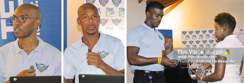 Image: (L-R) Time Out Entertainment Co–founder Lionel John addressing the gathering, Referee Leo Clarke speaking about the rules of the tournament and MC Ezra 'DeFunMachine' Augustin assisted by a TOE member for the official draw. (PHOTO: Anthony De Beauville)