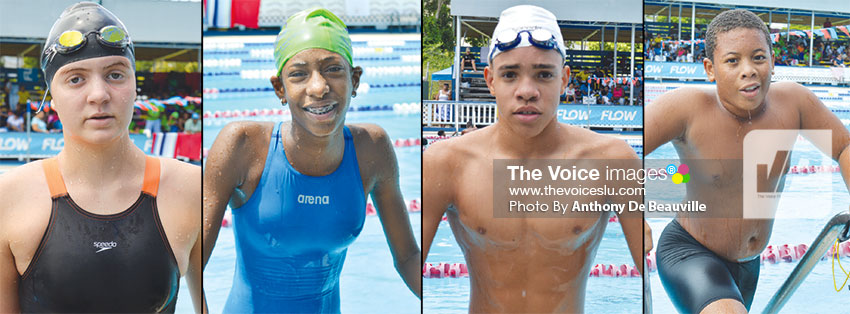 Image: (L-R) Natalya Guillaume, Chole Thomas, Cavaari Taylor and Nathan Vigier gave a good account of themselves in the pool. (PHOTO: Anthony De Beauville)