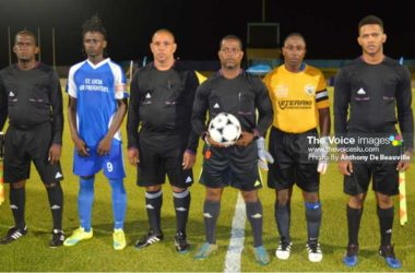Image: Officials set for the showdown between Gros Islet and Marchand. (PHOTO: Anthony De Beauville)