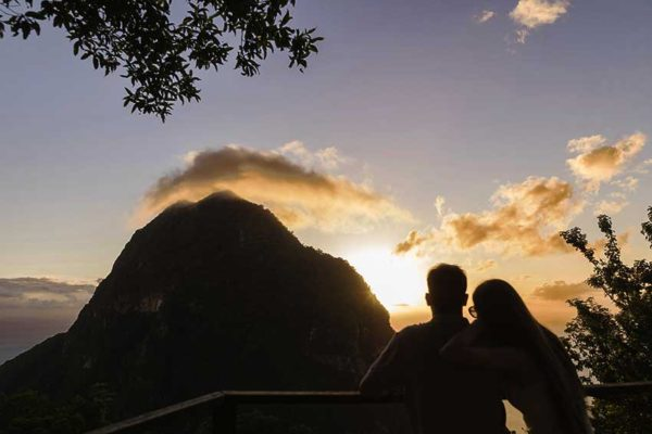 Image of Sunset at Tet Paul looking out at Piton.