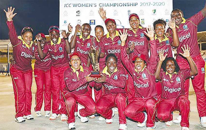 Image: Windies wining squad celebrate their 3-0 win over Sri Lanka women. (PHOTO: WIC)