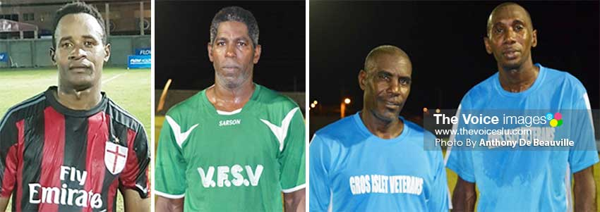 Image: (L-R) Anse la Raye goal scorer Mervin St. Croix (1); VFS Tryon Clarke saved the day for his team; and Gros Islet goal scorers Urban Augustin (1) and Roger Celestin (1). (PHOTO: Anthony De Beauville)