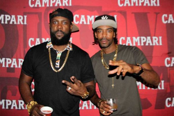 Image of Bunji Garlin and Ricky T at Campari Road To Trini Carnival Cocktail Launch Party.