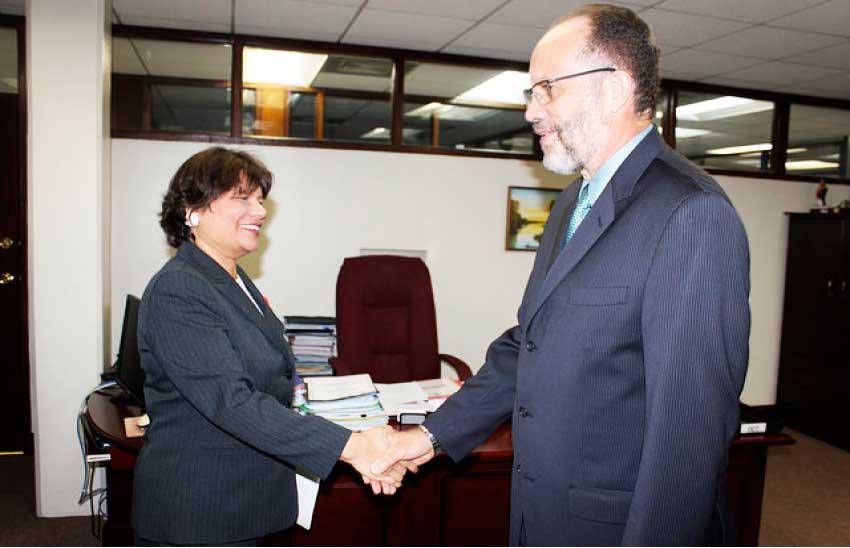 Image: CARICOM Secretary-General Ambassador Irwin LaRocque welcomes Canada's new Ambassador to CARICOM Lilian Chatterjee.