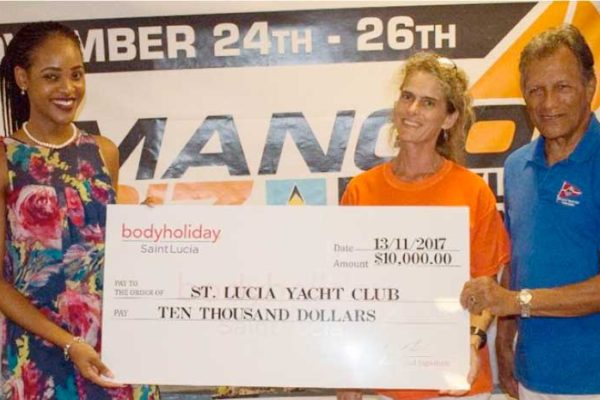 Image: (L-R) Body Holiday Marketing Representative, Consuela Dupal-Florent, presenting sponsorship cheque to Regatta Director Lily Bergasse and SLYC Commodore Gene Lawerence. (Photo: SLYC)