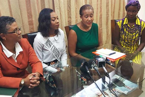 Image: (L-R) Dawn French, Deputy Permanent Secretary in the Department of Culture; SLU's Miss Universe representative, Louise Victor; National Director, Joycie Mederick; and Kimberly Charlery, Fashion Designer.