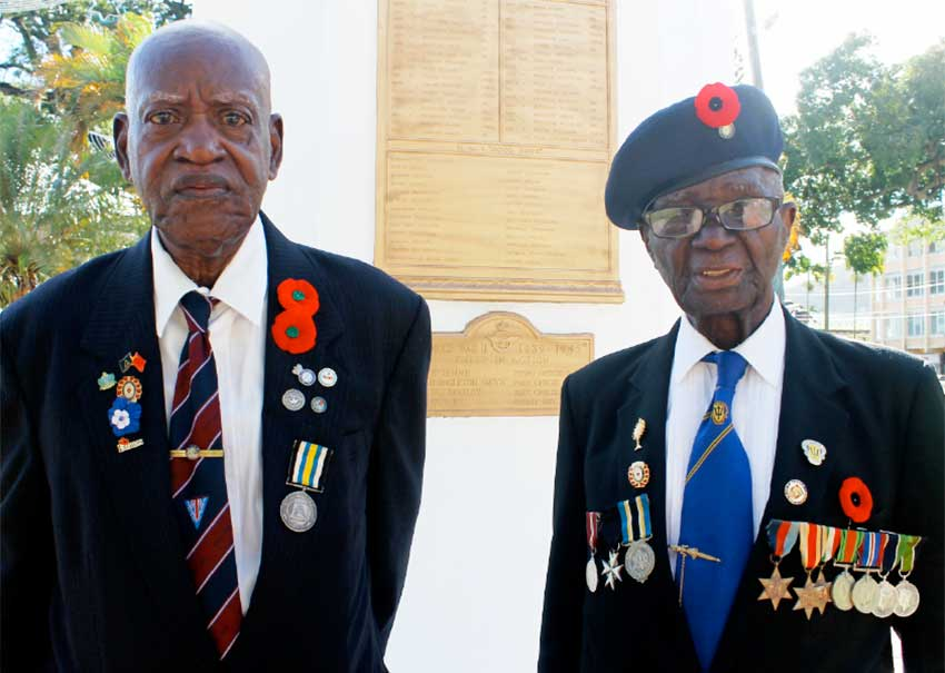 Image: Two Saint Lucian war veterans at the Remembrance Day wreath-laying ceremony in Derek Walcott Square, November 2015.