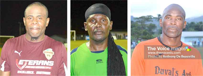 Image: (L-R) Goal scorers Phillip Francois (Soufriere), Martin Shortie (Dennery) and Dickenson Jean (Soufriere). (Photo: Anthony De Beauville)