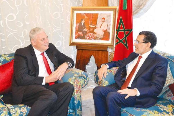 Image: OECS Chairman, Prime Minister Allen Chastanet, (left), meets with Morocco's Prime Minister, Saad-Eddine El Othmani.