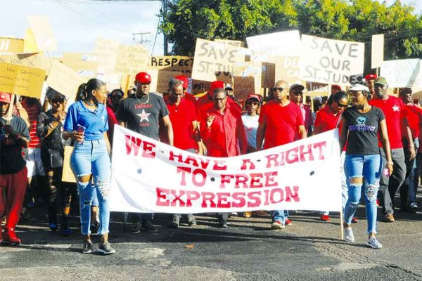 Image: Protest march in Vieux Fort last Sunday. (PHOTO: Kingsley Emmanuel)