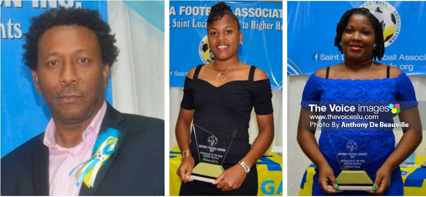 Image: (L-R) SLFA President Lyndon Cooper; Junior and Senior female footballers of the year Britannia St. Prix and MakeshSavery. (Photo: Anthony De Beauville)