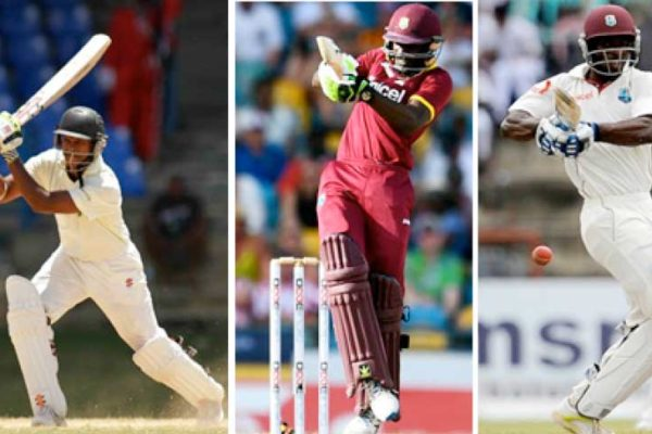 Image: (L-R)Shivnarine Chanderpaul, Jonathan Carter and Devon Smith. (Photo: WICB Media Photo/Ashley Allen/ AFP)