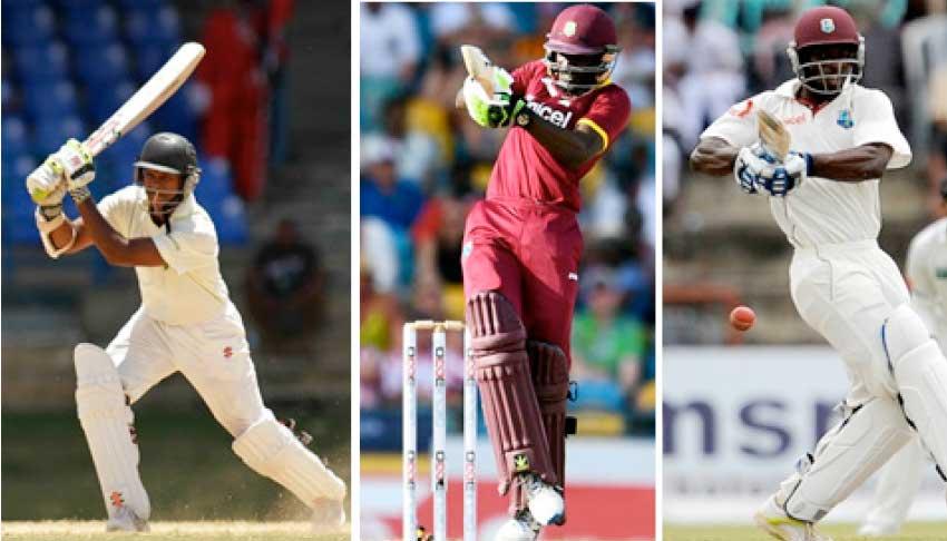Image: (L-R)Shivnarine Chanderpaul, Jonathan Carter and Devon Smith. (Photo: WICB Media Photo/Ashley Allen/ AFP)