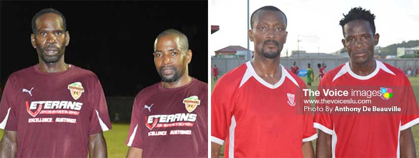 Image: (L-R) Soufriere goal scorers Jerome Serville (1) and Chester Francois (1); Dennery goal scorers Mark Francis (2) and Hendrickson Collymore (1). (PHOTO: Anthony De Beauville)