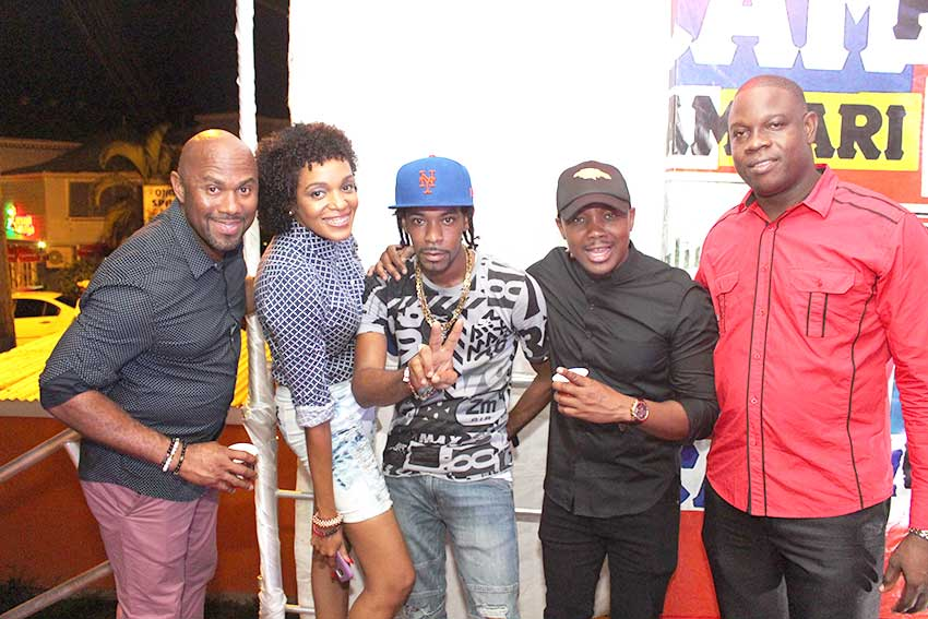 Image: St. Lucian Soca Star, Ricky T, (c) flanked by (from left) Senior Sales & Marketing Manager, Dexter Percil; Campari's Monique Brackett; Regional Brand Manager, Kamal Powell; and Campari St. Lucia's Brand Manager Denver Alcee.