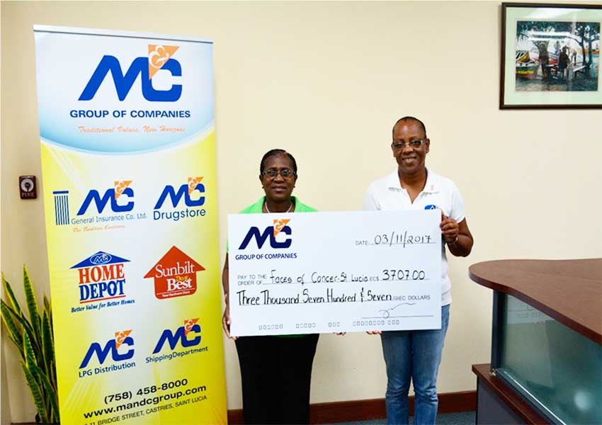 (In photo, from left to right): Stevie Theophane of M&C Group of Companies presenting a cheque to Paula Alfred representing Faces of Cancer.