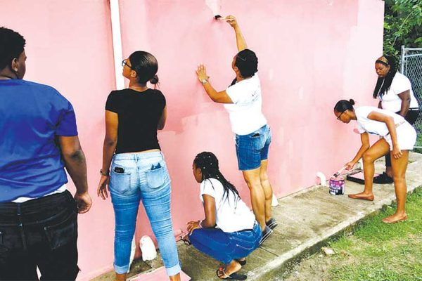 Image: Team Flow working on the Gros Islet Comfort Station.