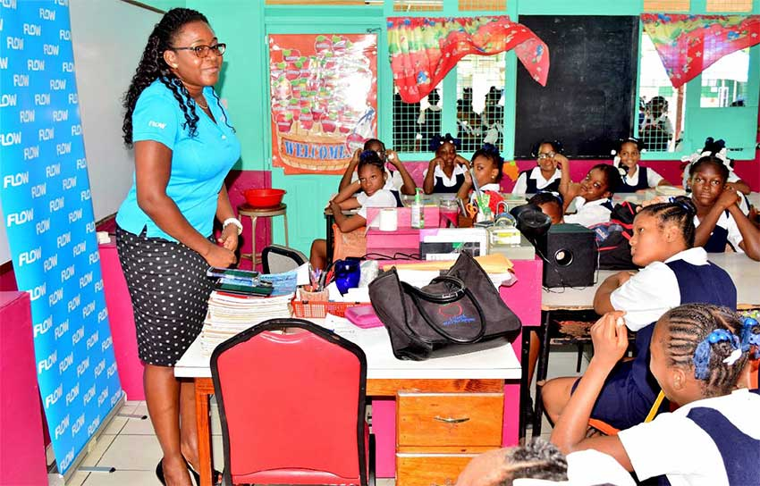 Image: Ave Maria Girls Primary alumna and Flow Product Manager for Broadband, Adriana Mitchel-Gideon, on International Internet Day.